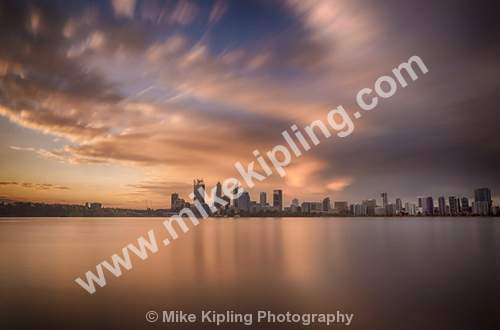 The City of Perth, Western Australia at Sunset - Australia, Perth, City, Sunset, Slow, Shutter, Movement, Swan. River,