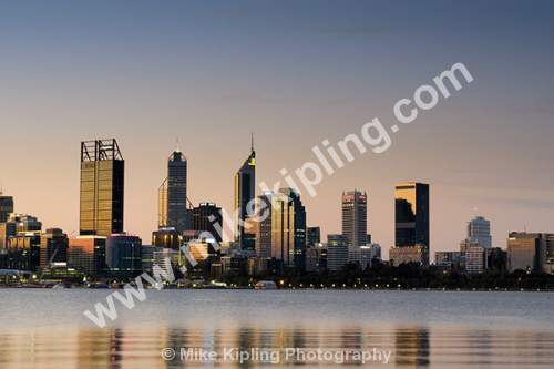 The City of Perth at Sunset across the Swan River, Western Australia - Australia, Perth, City, Sunset, Golden, Ligh, Swan, River, Reflections,