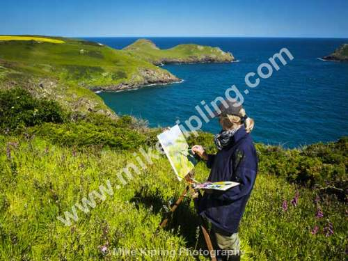 Artist Painting Wild Flowers, the South West Coast Path near the Rumps and Pentire Point, North Cornwall - Cornwall, The Rumps, Pentire, Point, South, West, Coast, Path, Spring, Artist, Painting,