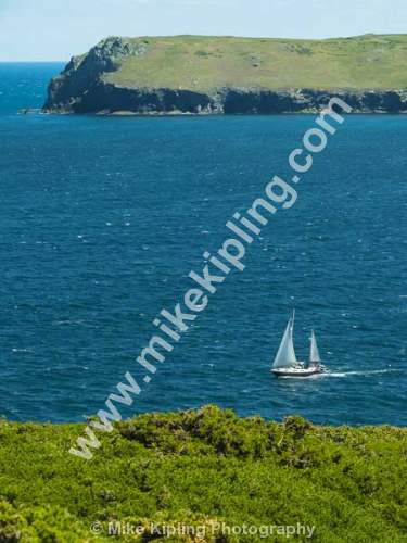 Yacht at sea from Stepper Point, near Padstow, Cornwall - Cornwall, Padstow, Stepper Point, Yacht, Coast,