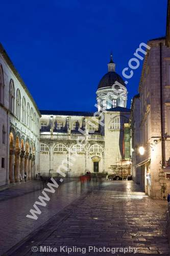 The Cathedral located in the centre of Poljana Marin Držic at dusk, Dubrovnik Croatia - dubrovnik, croatia, city, history, UNESCO, world, heritage, site, adriatic, travel, tourist, destination, Romanesque, Baroque, cathedral, christianity, night, floodlit, dusk,