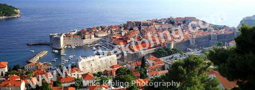 The Rooftops and City Walls Dubrovnik Croatia - dubrovnik, croatia, city, history, UNESCO, world, heritage, site, adriatic, travel, tourist, destination, Romanesque, Baroque, cathedral, christianity, red, rooftops, tiles, panorama, walls,