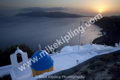 Sunset, Oia, Santorini, Cyclades, Greece - Europe, Greece, Cyclades, Santorini, Oia volcanic, island, aegean, sea, holiday, island, caldera, church, sunset, blue, white,