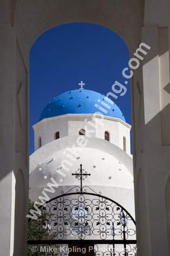 The Greek Orthodox Church, Perissa, Santorini, Cyclades, Greece - Perissa, Santorini, Cyclades, Greece, volcanic, island, aegean, sea, holiday, island, resort, church, gate, blue, white,