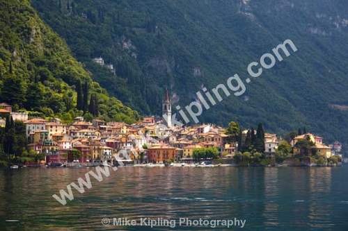 Varenna, Lake Como, Lombardy, Italy - Italy, Lombardy, Varenna, Lake Como, church, tower, mountains,