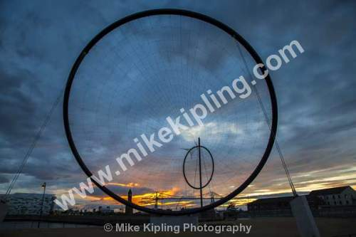 Temenos Sculpture at Middlehaven, Middlesbrough, Cleveland - Middlesbrough, Teesside, sculpture, temenos, Anish Kapoor, hoops, wires, sunset,