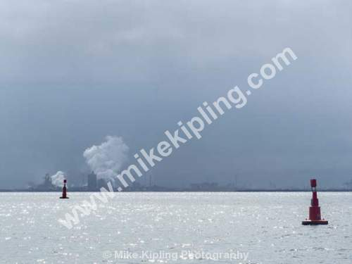 Redcar Steel works from Tees Bay - Cleveland, Tees Bay, Steel, Works, Buoys,