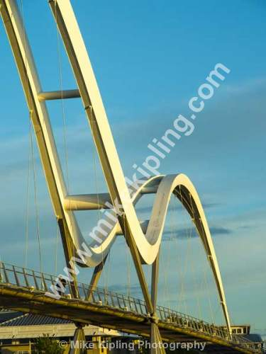 The Infiniti Bridge over the River Tees between Stockton and Thornaby, Cleveland. - Cleveland, Stockton on Tees, Infiniti, Bridge, River, Tees, dual, tied arch bridge, bowstring bridge, Engineering,