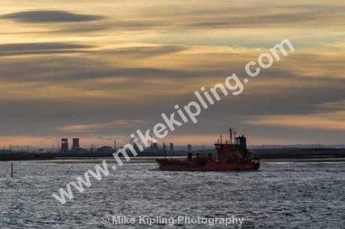 Ship Entering River Tees Estuary at Sunset - Cleveland, Tees, Teesmouth, Estuary, Ship, Industry, Transport, Sunset,