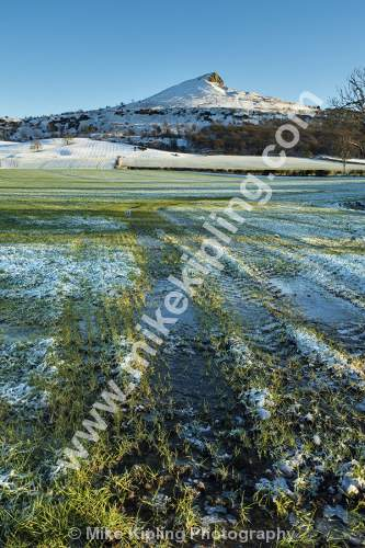 Frozen Field and Roseberry Topping from Newton under Roseberry - Winter, Roseberry, Topping, Ice, Frozen, Waterlogged, Field, Snow,