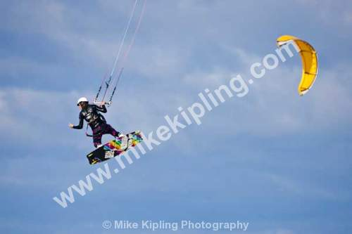 Kite Surfing on Coatham Beach, Tedcar, Tees Valley - Redcar, Tees Valley, kite, surfing, airborne, wind, sport, activity