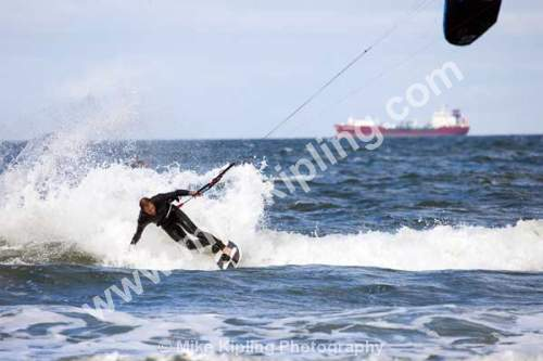 Kite Surfing at Coatham, Redcar, Tees Valley - Cleveland, Tees Valley, Redcar, Coatham, Kite, Surfing, water, sport, sea, coast, extreme, sport, waves, wind, action,