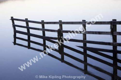 Fence in Lake, derwentwater, Cumbria - Cumbria, Derwentwater, wooden, fence, water, lake, reflection, frost,