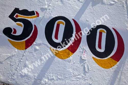 500 details on the side of a North Sea trawler - five, hundres, trawler, hull, 500,
