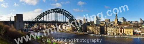 Newcastle Quayside and Tyne Bridge - Newcastle, Tyne and Wear, river, quayside, frontage, church, spire, tyne, bridge,