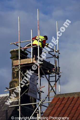 Lining Chimney for<br />Gas Central Heating - people workman chimney scaffold roof