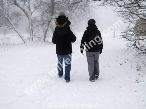 family in the snow, North Yorkshire - family, three, walking, snow, mist, yorkshire, together, shoulders,