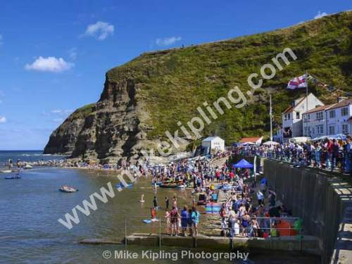 Staithes, Lifeboat Day - Yorkshire, Staithes, lifeboat, day, people,