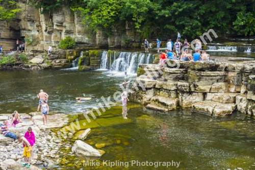 Summer swimming in the River Swale at Richmond, North Yorkshire - Yorkshire, Richmond, river, Swale, waterfall, swimming, summer, people,