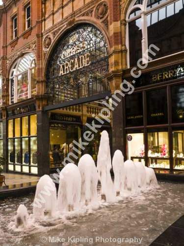 Victorian Arcade, Leeds City Centre, Yorkshire - Leeds, city, Victorian, quarter, arcade, heritage, water, fountain,