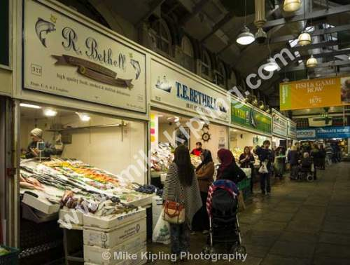 Leeds Victorian Covered Market, Yorkshire - Yorkshire, Leeds, city, covered, market, stals, Victorian, fishmonger,