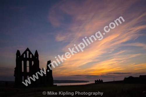 Whitby Abbey, North Yorkshire - Whitby, Benedictine, Abbey, Ruins, Sunset, Heritage, Silhoette, Red, Sky,