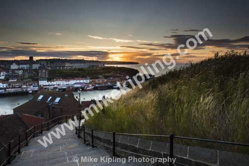 Sunset at the 199 steps Whitby, North Yorkshire - Sunset, Steps Whitby, Resort, Harbour, Coast Seaside,