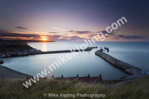 Sunset over Whitby outer harbour, North Yorkshire - Sunset, Whitby, Harbour, Resort, Piers, Coast, Milky, Water,