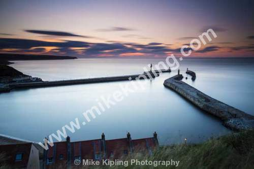 Sunset over Whitby outer harbour, North Yorkshire - Sunset, Whitby, Harbour, Resort, Piers, Coast,