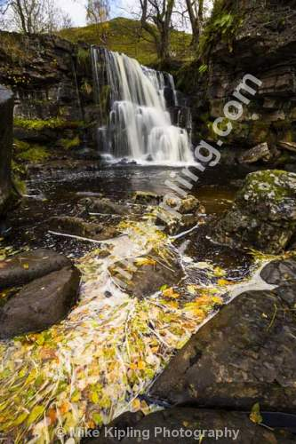 East Gill Force near Keld, Upper Swaledale, Yorkshire Dales National Park - Yorkshire, Swaledale, East Gill Force, Waterfall, Stream, Autumn, Leaves,