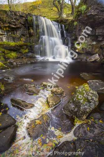 East Gill Force near Keld, Upper Swaledale, Yorkshire Dales National Park - Yorkshire, Swaledale, East Gill Force, Waterfall, Stream, Autumn, Leaves, Movement,