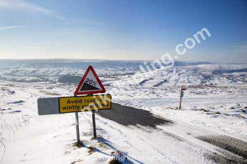 Wintry Warning Sign, Steep Road down into Farndale from Blakey Ridge, North York Moors National Park in winter snow - Yorkshire, Blakey, Farndale, winter, Snow, Warning, Sign, White,