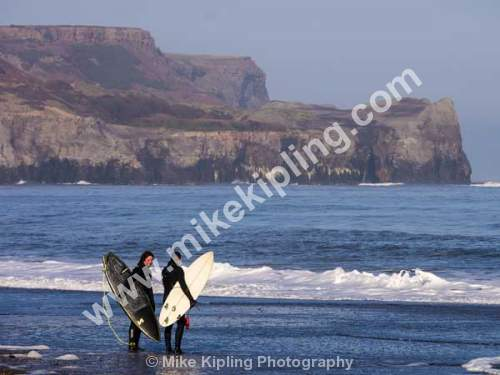 Surfers at Sandsend near Whitby, North Yorkshire - Yorkshire, Whitby, Sandsend, Surfers, Seaside, Sports, Two,