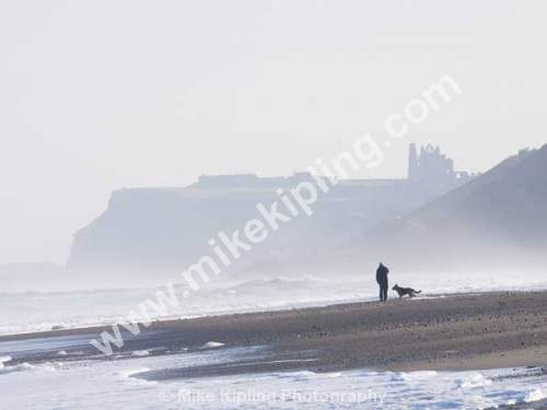 Man and Dog on the beach at Sandsend, Whitby, North Yorkshire - Yorkshire, Sandsend, Beach, Man and Dog,