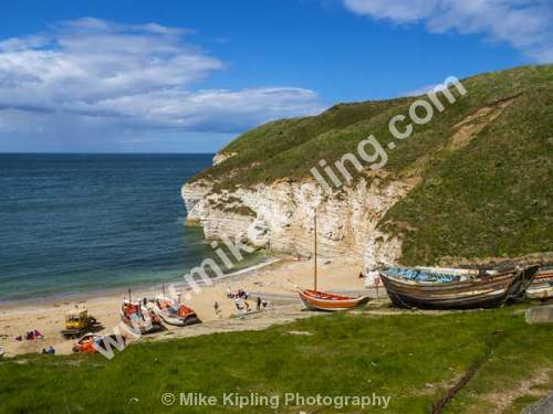 North Landing, Flamborough Head, East Yorkshire - Yorkshire, Flamborough, Head, North, Landing, Chalk, Cliffs, Bay, Fishing, Boats, Cobbles,