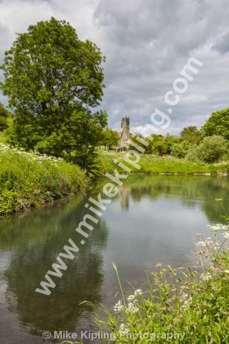 The Ruined Church of St Martin, Wharram Percy deserted medieval village, Yorkshire Wolds south of Malton - Yorkshire, Wolds, Wharram, Percy, Deserted, Village, Ruined, Church, Pond,