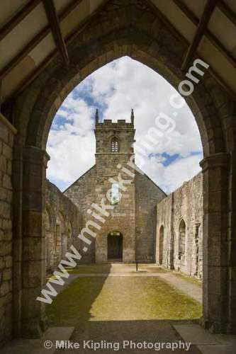 The Ruined Church of St Martin, Wharram Percy deserted medieval village, Yorkshire Wolds south of Malton - Yorkshire, Wolds, Wharram, Percy, Deserted, Village, Ruined, Church, Knave,