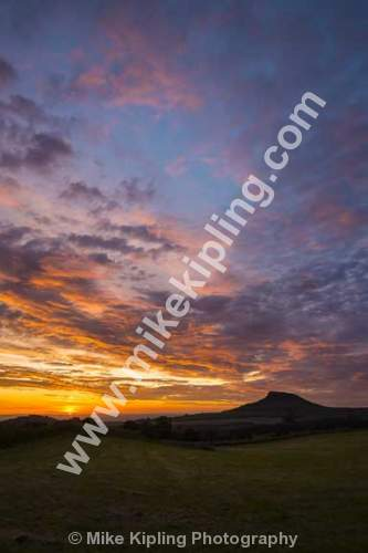 Summer sunset over Roseberry Topping from Gribdale, North York Moors National Park - Yorkshire, Gribdale, Roseberry, Topping, Sunset, August,