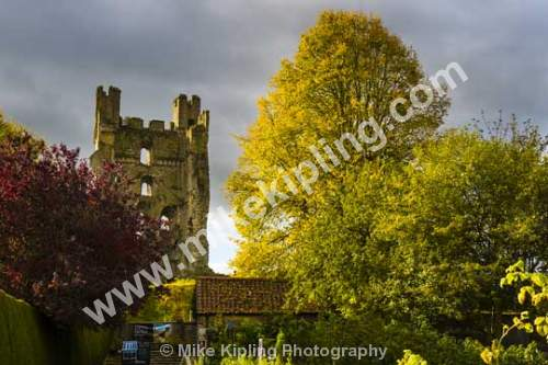 Helmsley Castle keep at Autumn, North Yorkshire - Yorkshire, Helmsley, Castle, Norman, Keep, Autumn, Heritage,