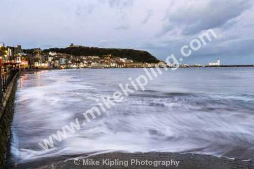 Scarborough South Bay at Dusk at High Tide, North Yorkshire - Yorkshire, Scarborough, South Bay, Resort, Seaside, High, Tide, Movement, Waves, Town, Dusk,