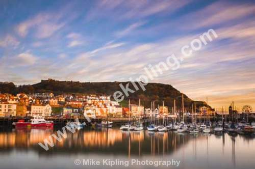 Scarborough Harbour at Winter Dawn, North Yorkshire - Yorkshire, Scarborough, Harbour, Fishing, Port, Resort, Town, Castle, Hill, Dawn, Warm, Light, Movement, Slow, Shutter, Big Stopper,