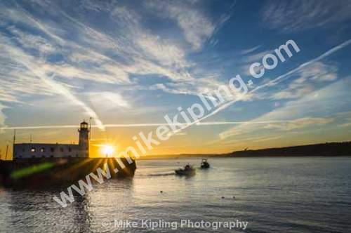 Boats Leaving to Fish, November Dawn, South Bay, Scarborough, North Yorkshire - Yorkshire, Scarborough, South Bay, Beach, Resort, Peaceful, Dawn, November, Sunrise, Fishing, Boats, Lighthouse, Sun,
