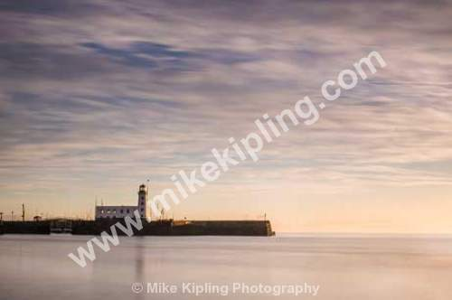 Winter Dawn South Bay, Scarborough, North Yorkshire - Yorkshire, Scarborough, South Bay, Resort, Peaceful, Dawn, November, Lighthouse, Movement, Slow Shutter,