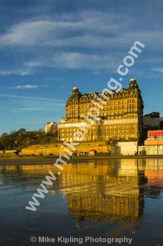 Grand Hotel South Bay, Scarborough, North Yorkshire - Yorkshire, Scarborough, South Bay, Beach, Sand, Sea, Resort, November, Wet, Sand, Grand Hotel,