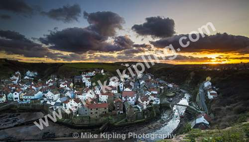 Staithes North Yorkshire from Cowbar at a winter sunset - Yorkshire, Staithes, Cowbar, Sunset, Village, Beck, Fishing, Holiday,