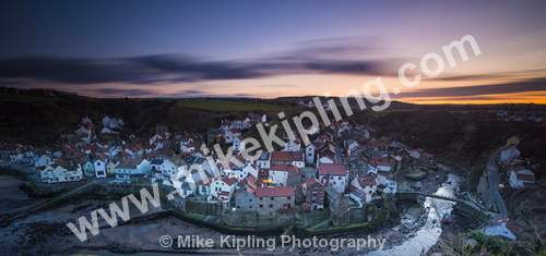 Staithes North Yorkshire from Cowbar at a winter sunset - Yorkshire, Staithes, Cowbar, Sunset, Village, Beck, Fishing, Holiday, Movement,