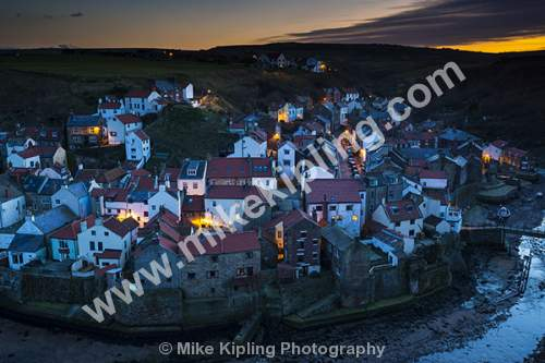 Lighting up Time at Staithes North Yorkshire from Cowbar - Yorkshire, Staithes, Cowbar, Street Lights, Dusk, Sunset, Village, Beck, Fishing, Holiday,