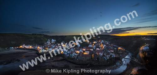 Lighting up Time at Staithes North Yorkshire from Cowbar - Yorkshire, Staithes, Cowbar, Sunset, Village, Beck, Fishing, Holiday, Dusk, Lighting, Lights,