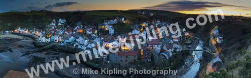 Lighting up Time at Staithes North Yorkshire from Cowbar - Yorkshire, Staithes, Cowbar, Dusk, Street, Lights, Sunset, Village, Beck, Fishing, Holiday, Panorama,