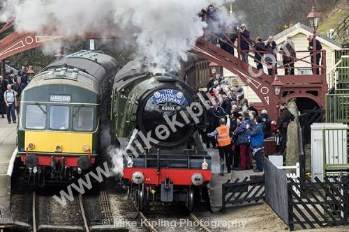 The Flying Scotsman at Goathland Station on the North York Moors Historic Railway after restoration - Yorkshire, Goathland, Historic, Railway, Flying, Scotsman, Steam, Engine, Restoration, 60103, March 2016,